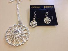 Beautiful Silver Necklace and Earring Set by originalsbyem on Etsy Earring Set, Crochet Earrings, My Etsy Shop, Silver, Beautiful, Jewelry, Jewlery, Money, Bijoux