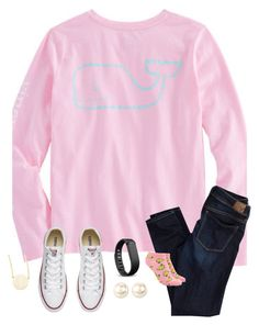 """""""Ootd-3/1/17"""" by palmer-mcneal ❤ liked on Polyvore featuring Vineyard Vines, American Eagle Outfitters, Converse, Nina, Fitbit, Forever 21 and Sarah Chloe"""