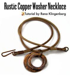 Rustic Copper Washer Necklace Variations Tutorial - by Rena Klingenberg