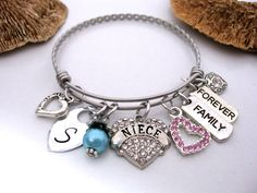 Niece Bracelet, Niece Jewelry, Personalized Niece Jewelry, Gift for Niece, Niece Present, Family Forever, Niece Family Forever by CharmAccents on Etsy