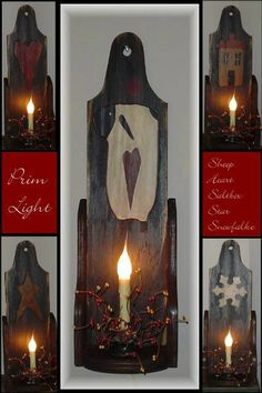 "Primitive Wood Craft Pattern ""6 Pc Prim Light"""