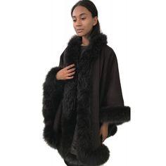 Women's Capes & Ponchos, Cashmere Cape, Fur Clothing, Capes For Women, Wrap Coat, Fur Fashion, Elegant Outfit, Fox Fur, Fur Trim