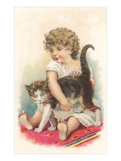 Little Girl with Cat Prints at AllPosters.com