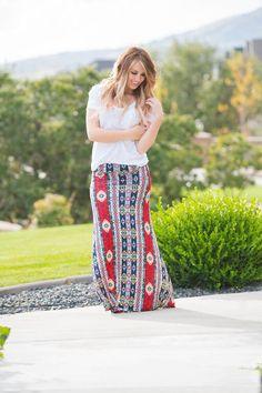 Multi Print Maxi Skirt