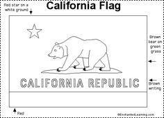 California State Flag Coloring Page  Social Studies  Pinterest