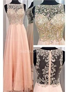 Bateau A-Line Elegant Prom Gowns 2015 Chiffon Zipper Evening Dresses with Beadings - www.suzhoudress.com