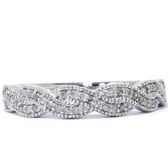 Diamond Wedding Infinity Ring Pave 1/4CT 14K White Gold Milgrain Vintage Antique Size (4-9)