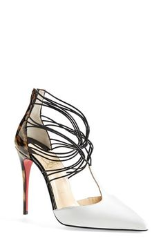 Free shipping and returns on Christian Louboutin 'Confusa' Pointy Toe Pump at Nordstrom.com.today! An alluring labyrinth of leather twists and turns starts this intriguing T-strap pump boasting a pointy white toe and glossy, leopard-patterned stiletto heel. Christian Louboutin's iconic red sole—born from a brush with red nail ...