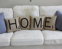 LOVE Scrabble Pillows Inserts Included // by dirtsastudio on Etsy