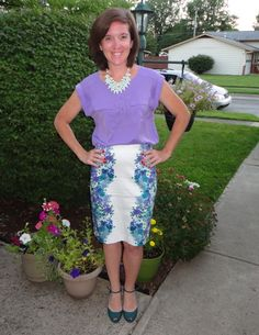 It's heating up in Ohio...summer work outfit.  Purple top, mint green statement necklace, floral skirt