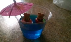 Preschool snack!  Jello with gummi savers and Teddy Grahams.