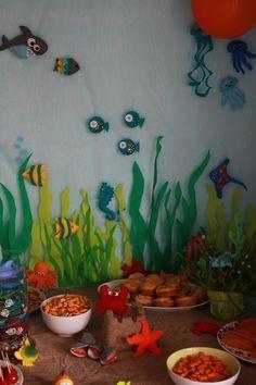 """Décoration feutrine (poissons, pieuvre, sous-marin..) buffet d'anniversaire sur le thème """"sous l'océan"""""""