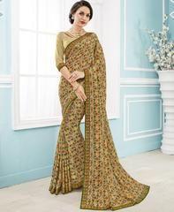 Beige & Green Color Georgette Crepe Designer Party Wear Sarees : Merika Collection YF-63140