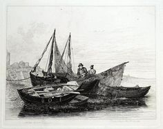 PETER BOATS at Greenwich Drawn and Etched by E W Cooke Published London 1829 in Cooke s Sixty Five Plates of Shipping and Craft A fine antique print