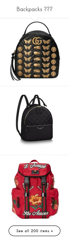 """Backpacks 😍😍✨"" by lilcud ❤ liked on Polyvore featuring bags, backpacks, handbags, black, women, leather zipper backpack, day pack backpack, gucci backpack, real leather backpack and leather bags"