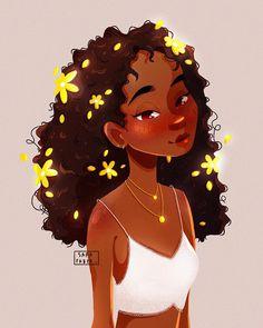 Black Cartoon Characters, Black Girl Cartoon, Cute Girl Drawing, Cartoon Girl Drawing, Black Love Art, Black Girl Art, Cute Art Styles, Cartoon Art Styles, Cool Art Drawings