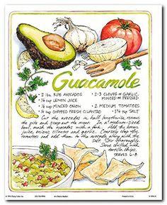 mexican home decor: Home & Kitchen Homemade Guacamole, Guacamole Recipe, Recipe Book Design, Scrapbook Recipe Book, Comida Disney, Kitchen Art, Country Kitchen, Kitchen Decor, Recipe Drawing