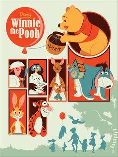 Ursinho Pooh -  Uma coleção de pôsters dos filmes da Disney. O trabalho fica por conta dos artistas da MondoCon, um estúdio que cria conceitos totalmente inovadores para HQs, desenhos, filmes e o que mais a cultura pop tiver para oferecer