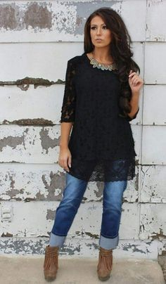 Pretty lace, black, sleeves cover elbow and longer length. High End Gal BLACK Lace Tunic Top- Also in Plus Size Black Lace Top Outfit, Lace Top Outfits, Black Lace Tops, Cool Outfits, Casual Outfits, Trendy Plus Size Clothing, Plus Size Outfits, Most Comfortable Jeans, Lace Tunic