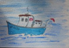 Berty Boat whimsical naive art,collections, painting Original ACEO  jdavies