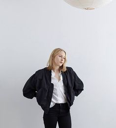 Garçonne We Love: Audrey Rose  Acne Studios / Halee Bomber Jacket Acne Studios / Patti Poplin Shirt Acne Studios / Needle Wet Cash Jean