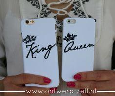 Onze nieuwe King & Queen hoesjes zijn populair. Wie is jouw King? Of wie is jouw Queen? www.ontwerp-zelf.nl