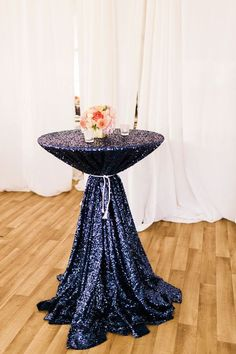 Navy sequin tablecloth, select your size, sequin cake tablecloth Nautical Bridal Showers, Nautical Wedding, Blue Wedding, Wedding Flowers, Summer Wedding, Wedding Dresses, Cocktail Table Decor, Cocktail Tables, Beach Wedding Reception
