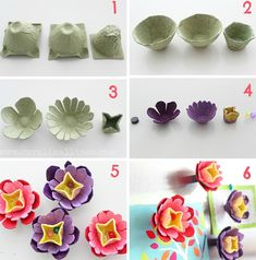 flores de caixa de ovo coloridas Kids Crafts, Diy Home Crafts, Diy Arts And Crafts, Easter Crafts, Toddler Crafts, Egg Carton Art, Egg Carton Crafts, Flower Crafts, Diy Flowers