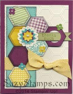 Stampin Up! Cards - 2014-02 Class - Six-Sided Sampler stamp set, Hexagon Punch, Honeycomb Embossing Folder