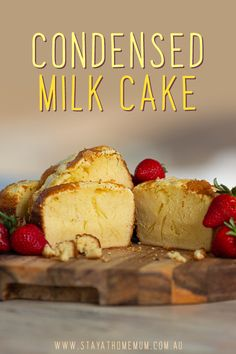 This Condensed Milk Cake made me fall in love with condensed milk even more. It is unbelievably moist and dense. Sweet enough to satisfy your cravings and the texture is to die for - that is, if you baked it just right! Pound Cake Recipes, Easy Cake Recipes, Easy Desserts, Sweet Recipes, Baking Recipes, Delicious Desserts, Dessert Recipes, Recipe With Sweet Condensed Milk, Condensed Milk Desserts