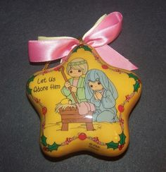 Precious Moments Christmas Ornament Yellow Star Let Us Adore Him Manger Scene