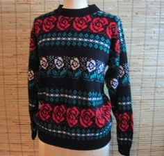 Vintage Rose Pattern Fair Isle Sweater by GardenSpring on Etsy