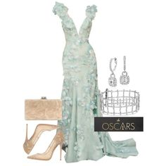 Oscars 2016 Red Carpet Style by Blue Nile on Polyvore featuring Armani Prive, Jimmy Choo, Blue Nile, and more