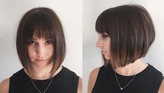 Chic Blunt Angled Bob with Feathered Bangs and Brunette Ombre - The Latest Hairstyles for Men and Women (2020) - Hairstyleology
