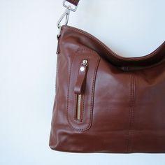 Dark brown leather handbag JOLIE leather purse and bag by MEIDUM