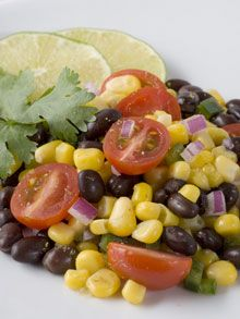Dean Ornish Salsa-I cup each of corn,black beans, 2 large chopped tomatoes, 1t. garlic, 1/4c. chopped red onion, 1jalapeno, juice of 3 limes, 2t cummin