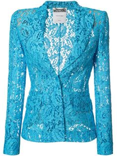 Shop Moschino Lace Blazer from stores. Blue lace blazer from Moschino featuring notched lapels, a front button fastening, front flap pockets, long sleeves and a rear central vent. Lace Blazer, Lace Jacket, Blazer Dress, Blazers For Women, Suits For Women, Jackets For Women, Blue Blazers, Trendy Dresses, Blue Dresses