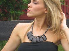 Beaded Black Statement Necklace with Gunmetal Glass Stones. $32.00, via Etsy.