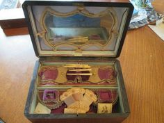 Antique Victorian inlaid wood sewing box beautiful  inside #Victorian