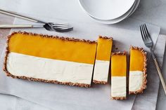 Australian food and recipes. This easy recipe sees your favourite summer Aussie treat - mango and ice-cream Weis bar – reincarnated into a no-bake cheesecake, perfect for entertaining. Mango Ice Cream, Tart Shells, No Bake Cheesecake, Cheesecake Recipes, Icecream Bar, Shredded Coconut, Easy Desserts, Frozen Desserts, Summer Desserts