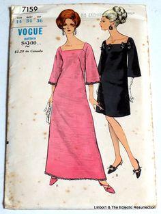 Uncut Vintage 1960s Vogue Evening Dress Pattern Two Lengths