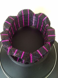 DamnedHalo's Beading Babble: Pink Pinstripe Ruffle Cuff