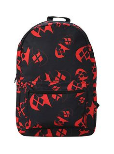 "DC COMICS HARLEY QUINN ""BATMAN"" LOGO BACKPACK IN BLACK/RED"