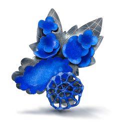 Wendy McAllister Brooch: Blue Chariot Vitreous enamel, copper, oxidized sterling silver 7.6 x 10.2 x 3.2 cm