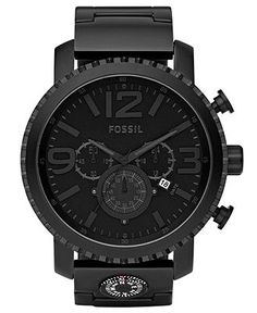 Fossil Watch, Men's Chronograph Gage Black Plated Stainless Steel Bracelet 50mm JR1303 - All Watches - Jewelry & Watches - Macy's