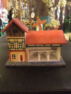 Vtg Miniature 20s German Erzgebirge Stable Large Red Xmas Putz Doll House | eBay
