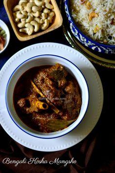 Bengali mishti pulao / white pulao/ sweet pulao and famous Golbari style kosha mangsho / bengali mutton curry / bhuna gosht recipe