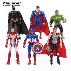 """슈퍼 히어로 6 개/대 철 남자 토르 캡틴 아메리카 배트맨 슈퍼맨 헐크 PVC 액션 피규어 장난감 4 """"10 센치메터 HRFG425"""