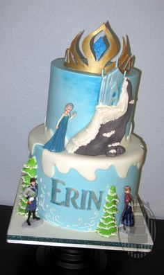 Frozen cake, Elsa and Anna