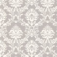 White on Gray Victorian Stencil Floral Damask Wallpaper